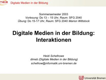 Digitale Medien in der Bildung - DiMeB - Universität Bremen