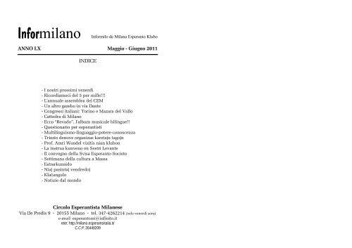 ANNO LX Maggio - Giugno 2011 INDICE Circolo Esperantista ...