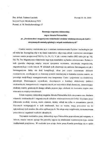 Doc. dr hab. Tadeusz Luciński Poznań 30. 06. 2009 Instytut Fizyki ...