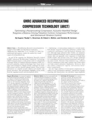 gmrc advanced reciprocating compressor technology - Southwest ...