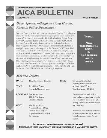 january 2009 - the Arizona Insurance Claims Association