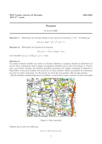 Examen - ENS de Cachan - Antenne de Bretagne