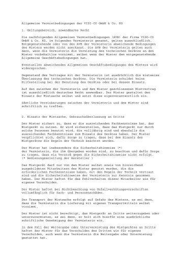 Allgemeine Vermietbedingungen der VISI-CO GmbH ... - hilti-mieten