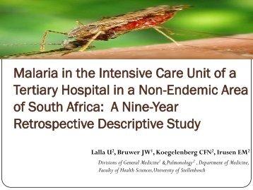 Malaria in the Intensive Care Unit of