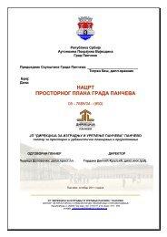 НАЦРТ ПРОСТОРНОГ ПЛАНА ГРАДА ПАНЧЕВА - град Панчево