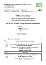 vlf-Bundesseminar - Bundesverband Landwirtschaftlicher Fachbildung