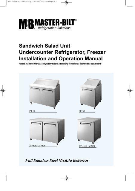 sandwich salad unit undercounter refrigerator freezer master bilt rh yumpu com