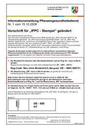 Info zur Änderung des IPPC Stempels - Wald und Holz NRW