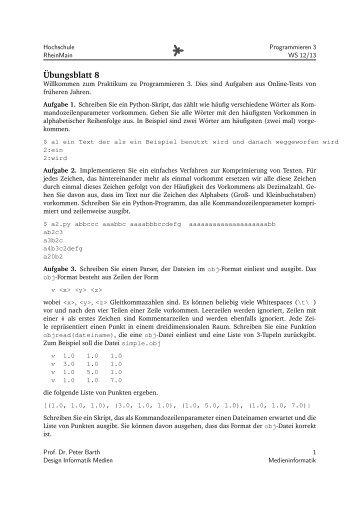 08 Python Kleinere Aufgaben - Medieninformatik - Hochschule ...