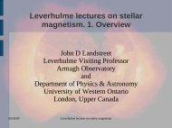 Lecture 1, an introduction to stellar magnetism - Armagh Observatory