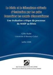 rapport sur le processus MAEP au Bénin - AfriMAP