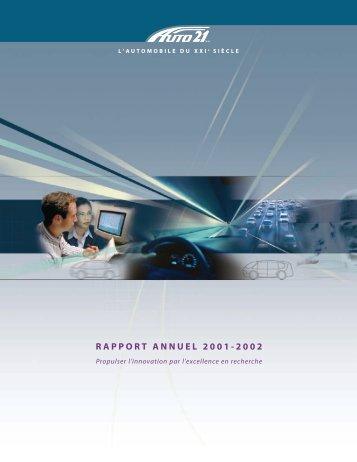 RAPPORT ANNUEL 2001-2002 - AUTO21
