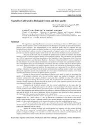 Vegetables Cultivated in Biological System and their ... - Rombio.eu
