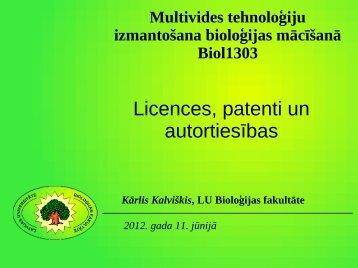 Licences, patenti un autortiesības