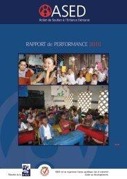 RAPPORT de PERFORMANCE 2010 - ASED