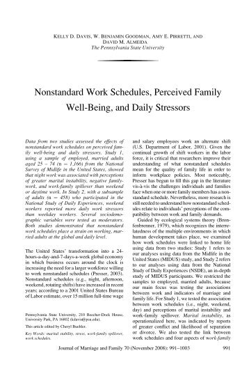 questions and answers about shift work a sloan work and family