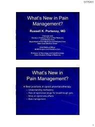 What's New in Pain Management? - Department of Pain Medicine ...