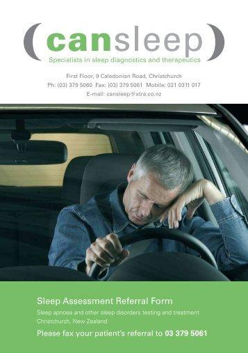 Sleep Assessment Referral Form - Cansleep