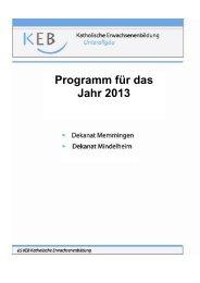 Programm für das Jahr 2013 - Katholische Erwachsenenbildung ...