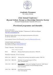 Provisional programme and timetable - Academia Europaea