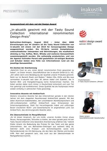 in akustik pressemitteilung red dot award