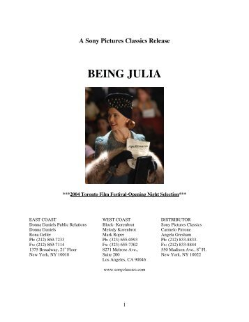 BEING JULIA Press kit - Sony Pictures Classics