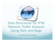 Data Structures for IPv6 Network Traffic Analysis Using Sets ... - Cert