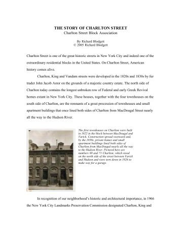 the story of charlton street - Greenwich Village Block Associations