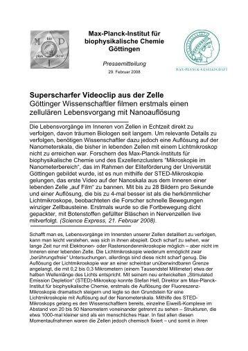 PDF der Pressemeldung - Max-Planck-Institut für biophysikalische ...