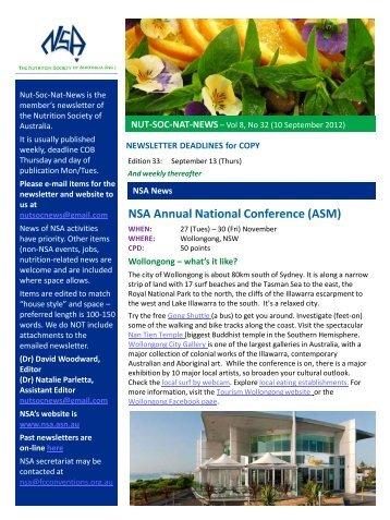 Vol 8, no 32 (10 September) - Nutrition Society of Australia