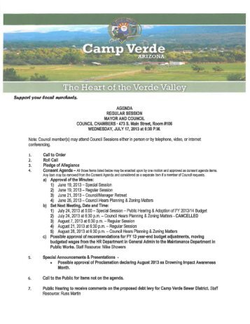 07-17-2013 Regular Session - Camp Verde