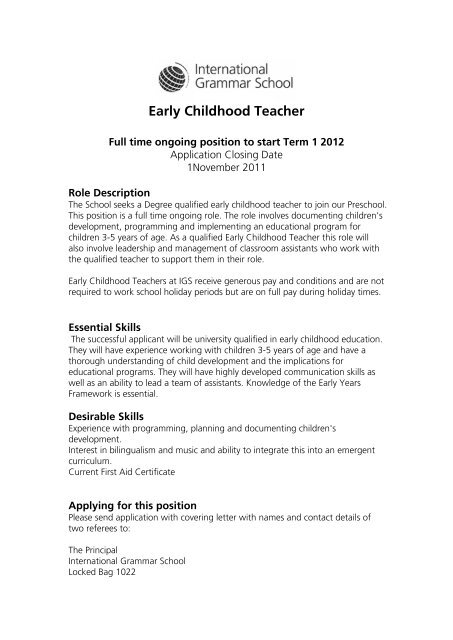 early childhood education cover letter