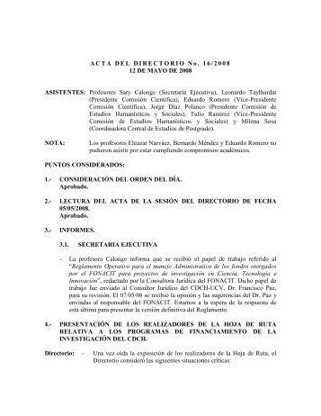 Directorio del 12/05/2008 - CDCH-UCV