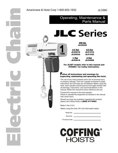 JLC Series, JLC680 - Coffing Hoists, Coffing Hoist PartsYumpu