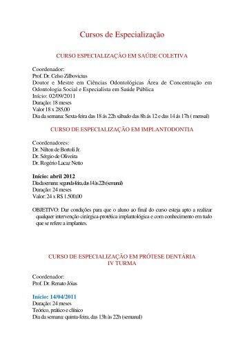 Cursos de Especialização - APCD