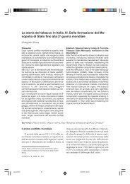 La storia del tabacco in Italia. III. Dalla formazione del Mo ... - Inea