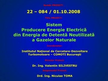 Sistem producere energie electrica din energia de detenta ...