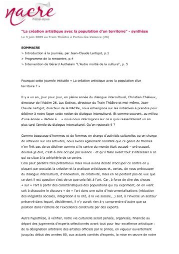 Synthese_rencontre_030609.pdf - La NACRe