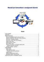 Manuál - navigace a komunikace se zařízením Garmin - Webdispečink
