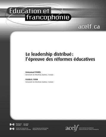 Le leadership distribué : l'épreuve des réformes éducatives - acelf