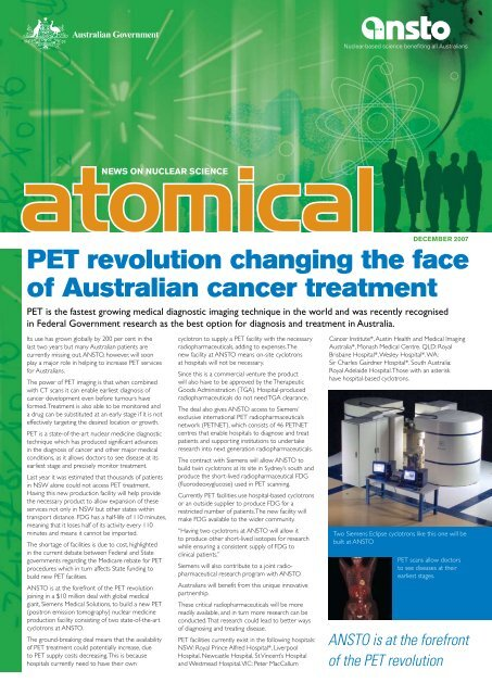 PET revolution changing the face of Australian cancer ... - ainse