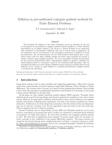 Deflation in preconditioned conjugate gradient methods for Finite ...