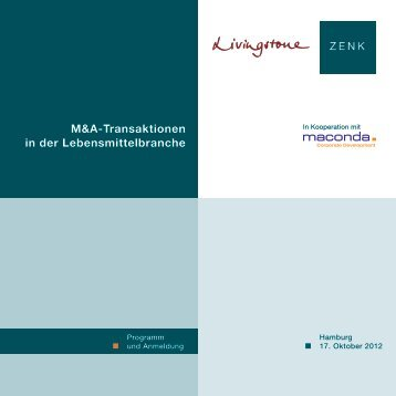 M&A-Transaktionen in der Lebensmittelbranche - Zenk Rechtsanwälte