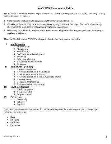 WASCIP Self-assessment Rubric - Student Services / Prevention ...