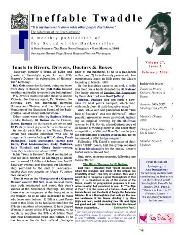 February 2008, Vol 27 Issue 2 - Sound of the Baskervilles