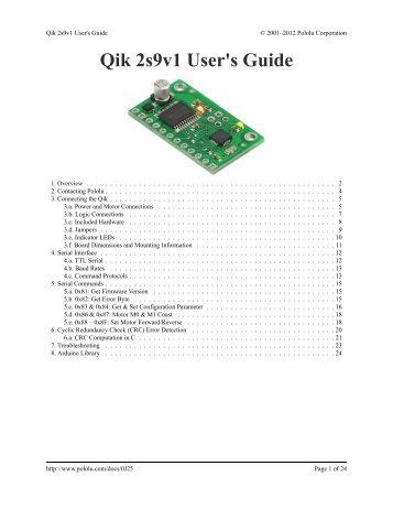 Pololu - Qik 2s9v1 User's Guide - Pololu Robotics and Electronics