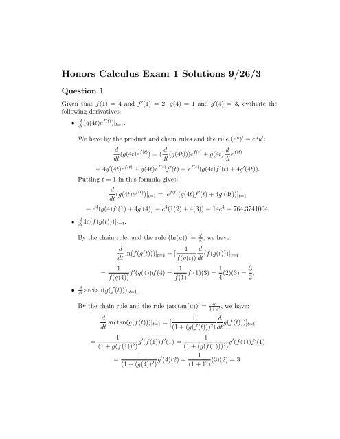 Honors Calculus Exam 1 Solutions Pdf Version