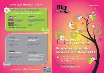 Prog vacances printemps 2013.indd - Fédération des centres ...