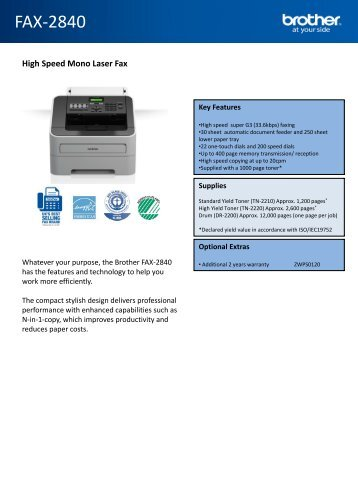 Brother Fax 2840 Specification Sheet - PMC Telecom