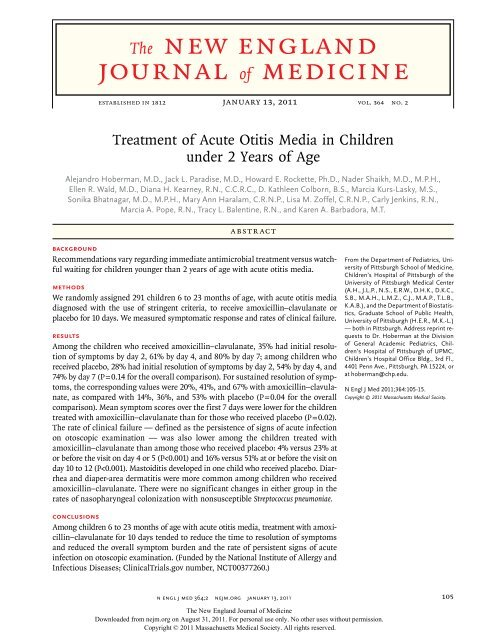 Treatment of Acute Otitis Media in Children under 2 Years of Age